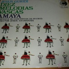 Discos de vinilo: DIEZ MELODIAS VASCAS, JESUS GURIDI, LP 1969. Lote 40043774
