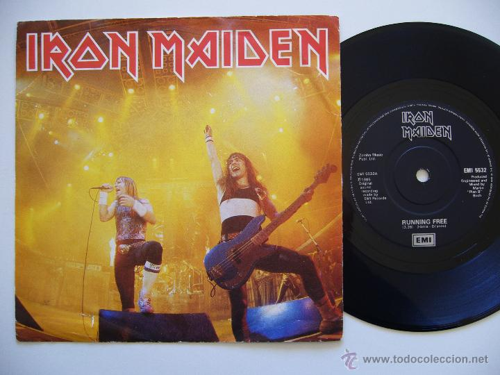 IRON MAIDEN. SINGLE. RUNNING FREE LIVE. EDICIÓN INGLESA. LABEL NEGRO (Música - Discos - Singles Vinilo - Heavy - Metal)