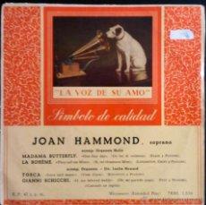 Discos de vinilo: JOAN HAMMOND, SOPRANO - MADAMA BUTTERFLY, LA BOHEME, TOSCA, GIANNI SCHICCHI - EP ESPAÑOL. Lote 40074274