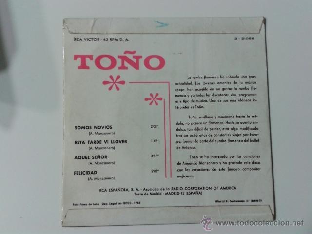 Discos de vinilo: TOÑO Y SUS RUMBAS GITANAS Somos novios/Aquel señor/Felicidad +1 EP RCA VICTOR 1968 RUMBA GIPSY GYPSY - Foto 2 - 40077222