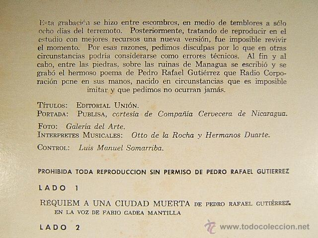 Discos de vinilo: REQUIEM A UNA CIUDAD MUERTA-MANAGUA-NICARAGUA-PEDRO RAFAEL GUTIERREZ-FABIO GADEA MANTILLA-1972/1973. - Foto 3 - 40086653