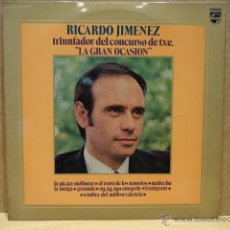 Discos de vinilo: RICARDO JIMÉNEZ. TRIUNFADOR DEL CONCURSO LA GRAN OCASIÓN. LP - PHILIPS - 1972. USO NORMAL. ***/***. Lote 40095828