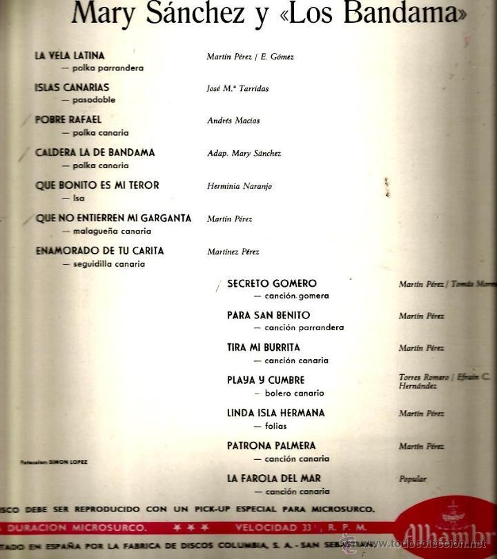 Discos de vinilo: LP MARY SANCHEZ Y LOS BANDAMA : FOLKLORE CANARIO ( CANARIAS FOLK ) - Foto 2 - 40141273