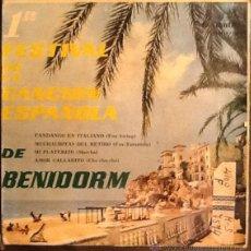 Discos de vinilo: FESTIVAL DE BENIDORM FANDANGO EN ITALIANO SG VINILO. Lote 40151110