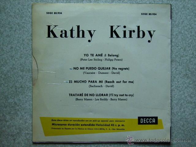 Discos de vinilo: KATHY KIRBY.....YO TE AME + 3 - Foto 2 - 40151229