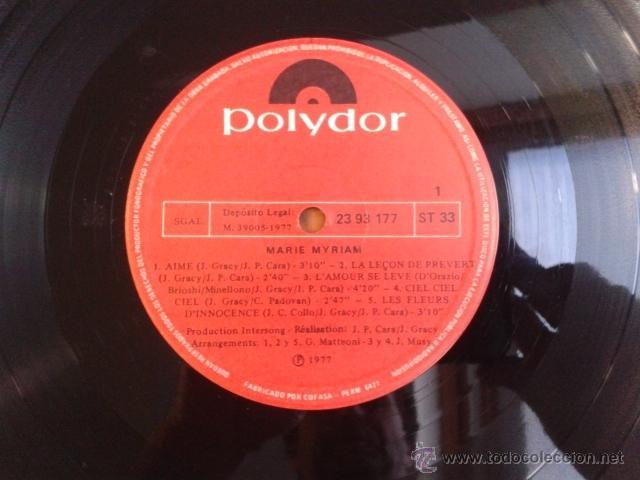 Discos de vinilo: Marie Myriam - EUROVISION 77 CANTA EN ESPAÑOL 1977 LP POLYDOR RARO - Foto 4 - 40160193