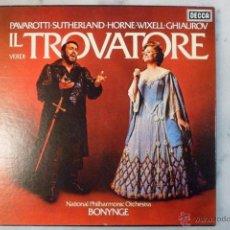 Discos de vinilo: IL TROVATORE. VERDI. PAVAROTTI. BONYNGE. SELLO DECCA 3 LPS. Lote 40453521