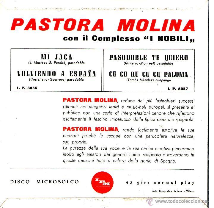 Discos de vinilo: PASTORA MOLINA EDITADO EN ITALIA - Foto 2 - 40201194
