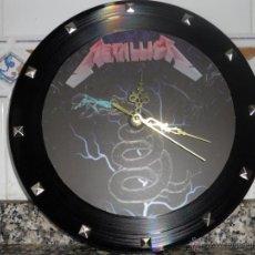 Discos de vinilo: RELOJ,VINILO DE PARED METALLICA.IRON MAIDEN,MEGADETH,ANTHRAX. Lote 40268420
