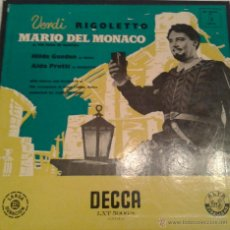 Discos de vinilo: - VERDI - RIGOLETTO - MARIO DEL MONACO - ( ALBUM CON 3 LPS-). Lote 40287722