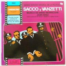 Discos de vinilo: BSO SACCO E VANZETTI. MUSICA E. MORRICONI, JOAN BAEZ. CINEMATRES (RCA) 1981. SIN ESCUCHAR. Lote 40322403