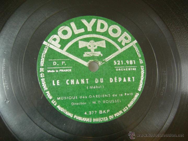 Discos de vinilo: DISCO PIZARRA POLIDOR, LA MARSEILLAISE, HIMNO NACIONAL FRANCES - Foto 2 - 40334897
