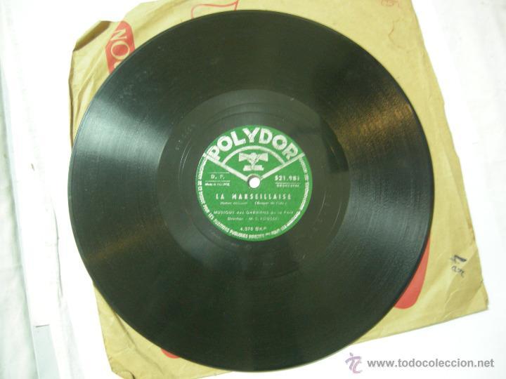 Discos de vinilo: DISCO PIZARRA POLIDOR, LA MARSEILLAISE, HIMNO NACIONAL FRANCES - Foto 3 - 40334897