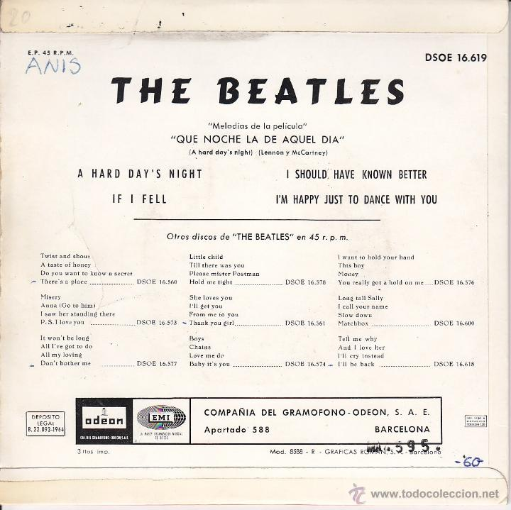 Discos de vinilo: THE BEATLES - A HARD DAYS NIGHT - IF I FELL - I SHOULD KNOWN BETTER - IM HAPPY JUST TO DANCE -1964 - Foto 2 - 37513609