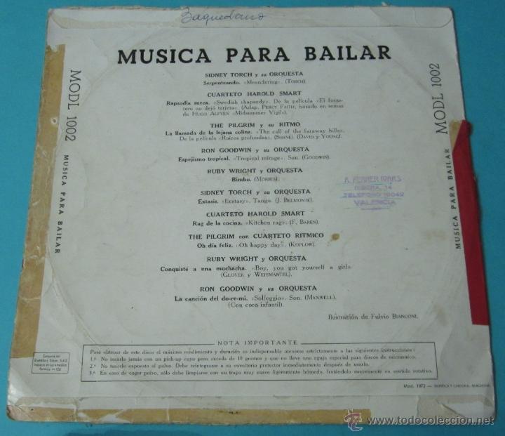 Discos de vinilo: MÚSICA PARA BAILAR. ODEON. DIÁMETRO 25 CM - Foto 2 - 40398211