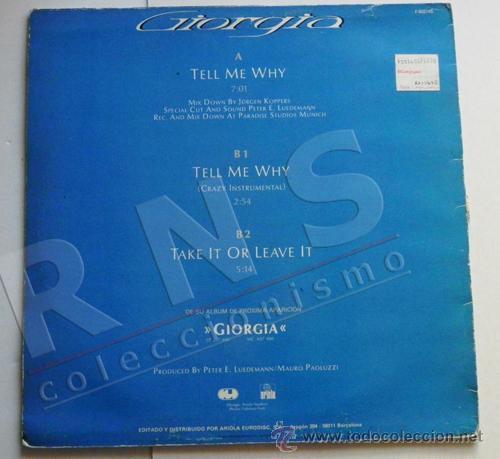 GIORGIA - TELL ME WHY - DISCO DE VINILO MAXI SINGLE - CANTANTE ITALIANA -  AÑOS 80 - MÚSICA POP