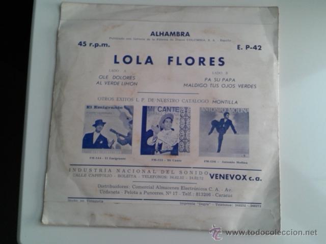 Discos de vinilo: Lola Flores - Olé Dolores / Al Verde Limón +2 EP ALHAMBRA VENEVOX E P-42 Venezuela MEGA RARO - Foto 4 - 40410215
