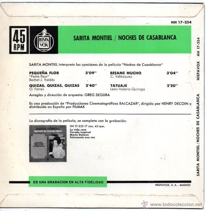 Discos de vinilo: SARITA MONTIEL, EP, BESAME MUCHO + 3, AÑO 1963 - Foto 2 - 40419744