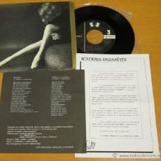 Discos de vinilo: ACADEMIA PARABUTEN - MUÑECA + ANSIA - SINGLE 3CIPRESES 1985 - PARALISIS PERMANENTE - N MINT. Lote 40424228
