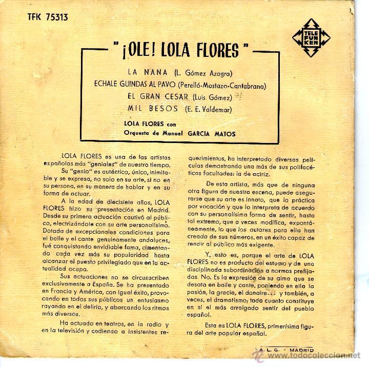 Discos de vinilo: ¡OLE! LOLA FLORES - LA NANA - Foto 2 - 40428979