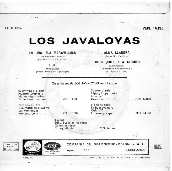 Discos de vinilo: JAVALOYAS, EP, EN UNA ISLA MARAVILLOSA + 3, AÑO 1965 - Foto 2 - 40434439