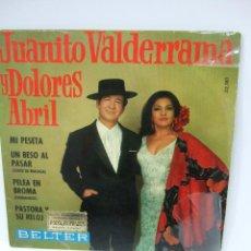Discos de vinilo: JUANITO VALDERRAMA Y DOLORES ABRIL - SINGLE VINILO - 1968 - MI PESETA Y OTRAS CANCIONES. Lote 40519653