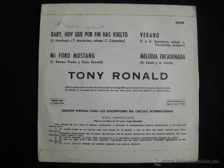 Discos de vinilo: TONY RONALD // MI FORD MUSTANG + 3 // CIRCULO DE LECTORE3S - Foto 2 - 40647044