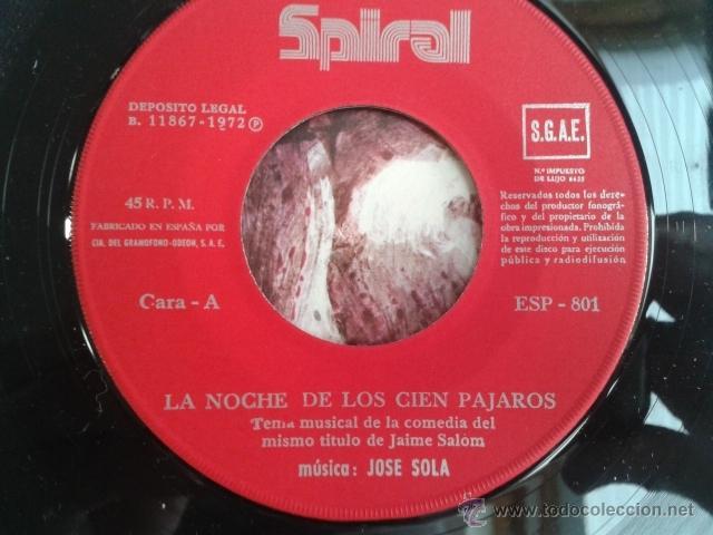 Discos de vinilo: Jose Solá - La Noche De Los Cien Pájaros / Evasión 1972 SPIRAL Cinematic Library Killer Dabada RARO! - Foto 6 - 40670084