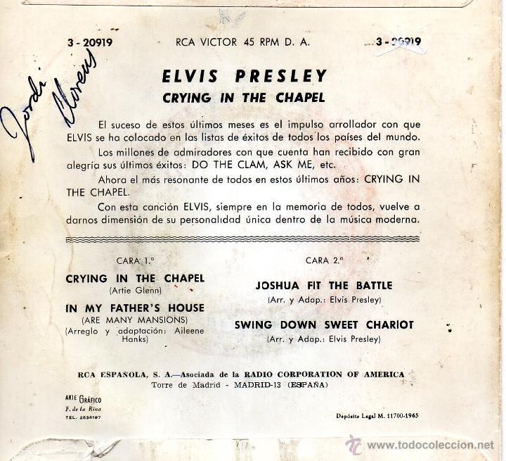 Discos de vinilo: ELVIS PRESLEY, EP, CRYING IN THE CHAPEL + 3, AÑO 1965 - Foto 2 - 40685280