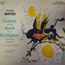 Discos de vinilo: LP DE GERMAINE MONTERO- LAMENT- ON THE DEATH-OF A BULLFIGHTER,- ( FEDERICO GARCIA LORCA-). Lote 40696756