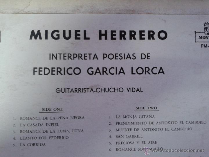 Discos de vinilo: MAGNIFICO LP DE MIGUEL GUERRERO-INTERPRETANDO POESIAS DE FEDERICO GARCIA LORCA-EDITADO EN VENEZUELA- - Foto 2 - 40697433
