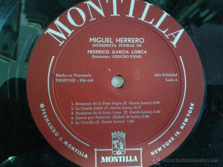 Discos de vinilo: MAGNIFICO LP DE MIGUEL GUERRERO-INTERPRETANDO POESIAS DE FEDERICO GARCIA LORCA-EDITADO EN VENEZUELA- - Foto 3 - 40697433