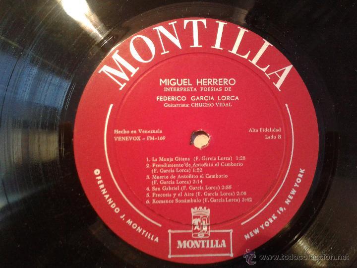 Discos de vinilo: MAGNIFICO LP DE MIGUEL GUERRERO-INTERPRETANDO POESIAS DE FEDERICO GARCIA LORCA-EDITADO EN VENEZUELA- - Foto 4 - 40697433