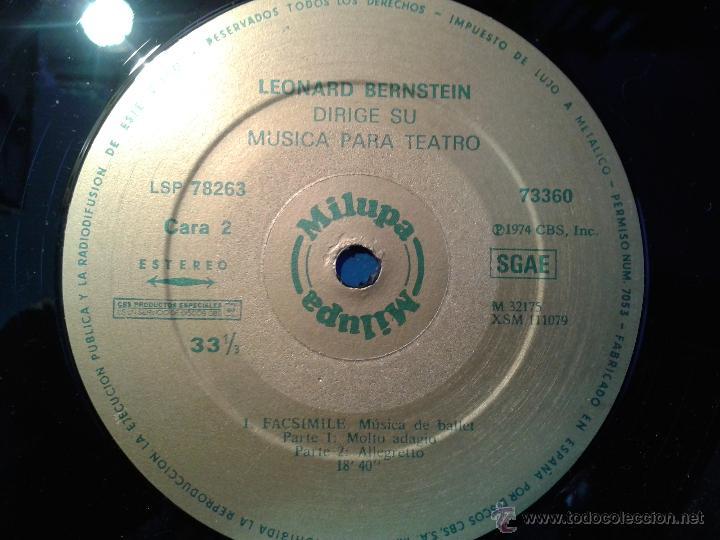 Discos de vinilo: MAGNIFICO DOBLE ALBUM DE MILUPA-LEONARD -BERNSTEIN-MUSICA PARA TEATRO DEL AÑO 1975- - Foto 4 - 40698082