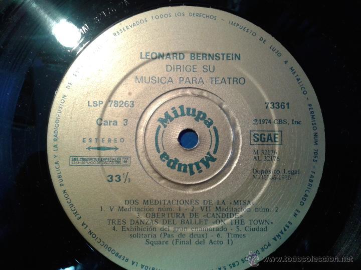 Discos de vinilo: MAGNIFICO DOBLE ALBUM DE MILUPA-LEONARD -BERNSTEIN-MUSICA PARA TEATRO DEL AÑO 1975- - Foto 6 - 40698082