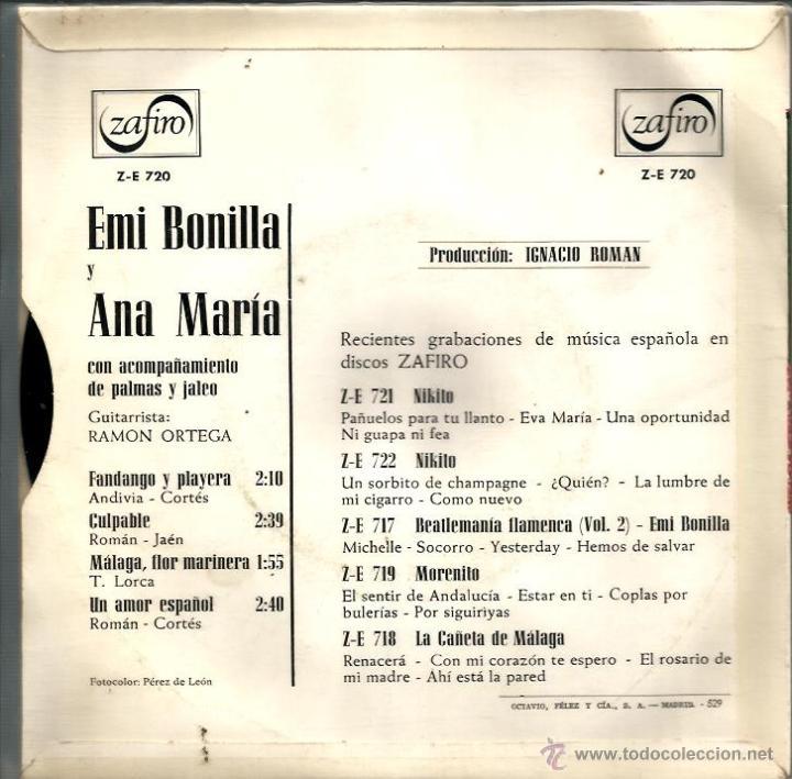 Discos de vinilo: EP EMI BONILLA & ANA MARIA : FANDANGO Y PLAYERA - Foto 2 - 40714736