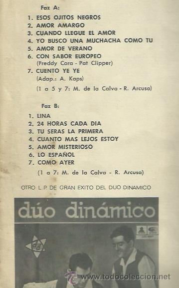 Discos de vinilo: DUO DINAMICO LP SELLO LA VOZ DE SU AMO EDITADO EN CHILE - Foto 2 - 40718977