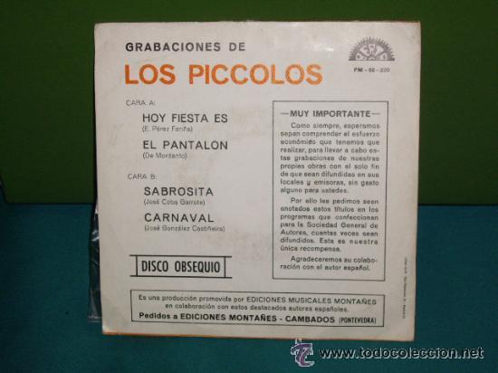 Discos de vinilo: piccolos / HOY ES FIESTA - SABROSITA - EL PANTALON - CARNAVAL !! RARO EP 1972 , EXC - Foto 3 - 40719293