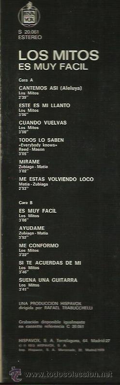 Discos de vinilo: LOS MITOS LP SELLO HISPAVOX AÑO 1978 - Foto 2 - 40732838