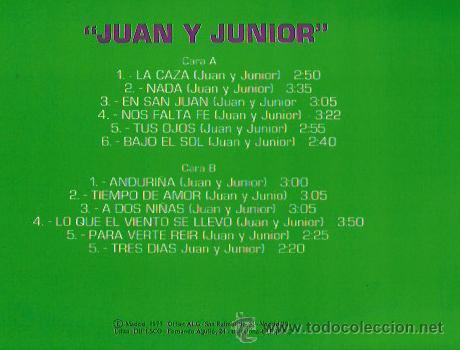 Discos de vinilo: JUAN Y JUNIOR LP SELLO CAUDAL AÑO 1976 - Foto 2 - 40732979