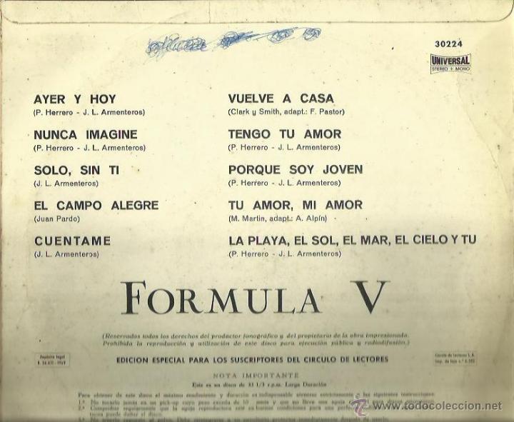 Discos de vinilo: FORMULA V LP SELLO PERGOLA 10 PULGADAS AÑO 1969 - Foto 2 - 40733031