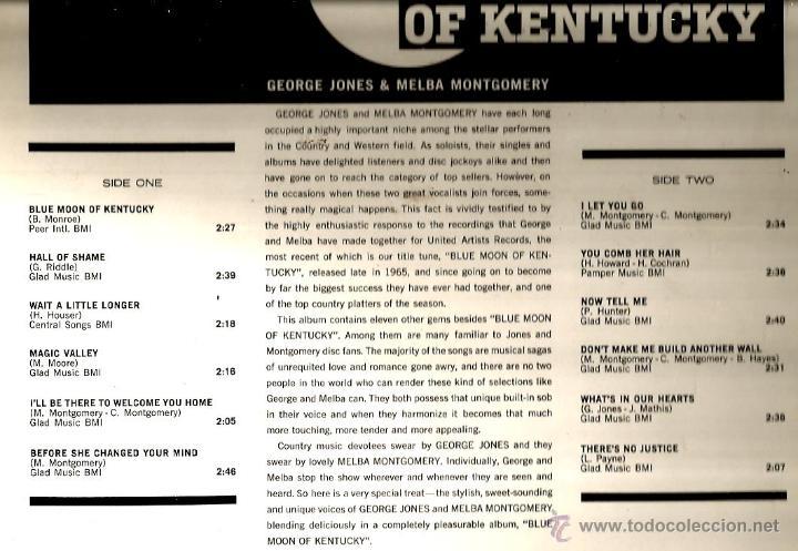 Discos de vinilo: LP GEORGE JONES & MELBA MONTGOMERY : BLUE MOON OF KENTUCKY - Foto 2 - 40739250