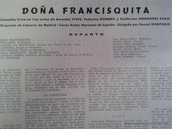 Discos de vinilo: MAGNIFICO LP DE DOÑA FRANCISQUITA-CON ANA MARIA OLARIA-ALFREDOKRAUS-DOLORES PEREZ-SANTIAGO RAMALLE- - Foto 2 - 40753067