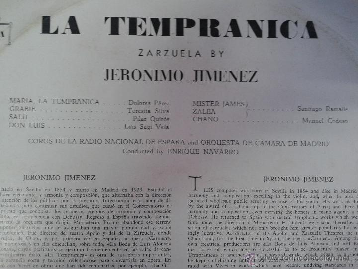 Discos de vinilo: MAGNIFICO LP LA TEMPRANICA - ZARZUELA DE JIMENEZ - - Foto 2 - 40753621