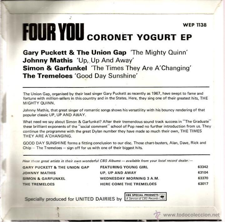 Discos de vinilo: EP SIMON & GARFUNKEL + THE TREMELOES + JOHNNY MATHIS + GARY PUCKETT & THE UNION GAP - Foto 2 - 40763673