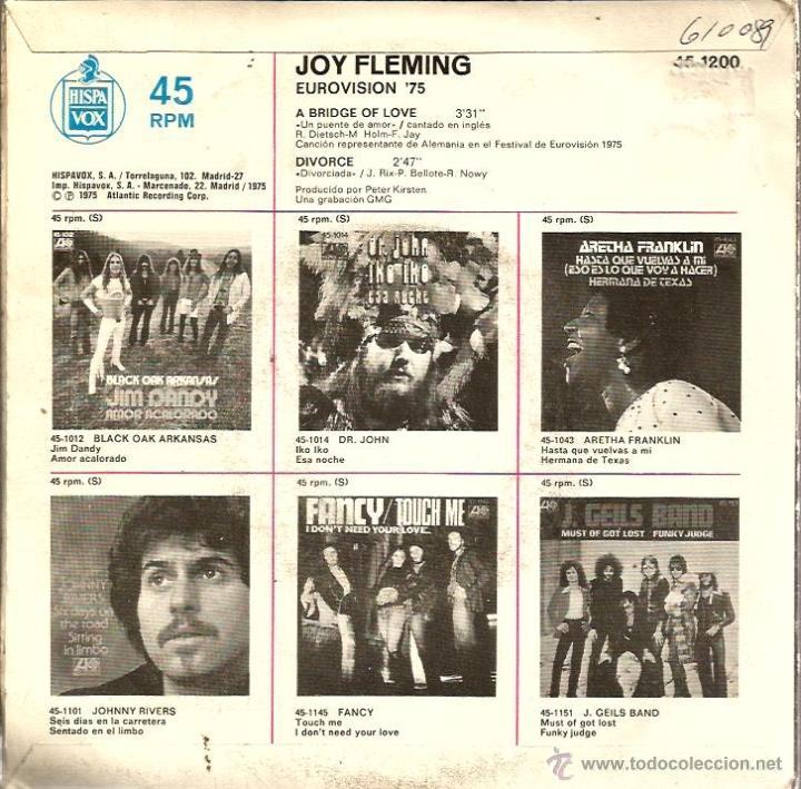Discos de vinilo: SG JOY FLEMING : A BRIDGE OF LOVE ( CANTA EN INGLES, ALEMANIA EUROVISION 1975 ) - Foto 2 - 40772945