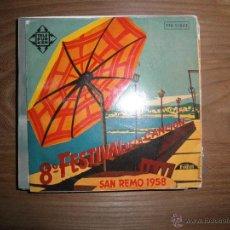 Discos de vinilo: 8º FESTIVAL DE LA CANCION. SAN REMO 1958. TELEFUNKEN 1958. Lote 40773221