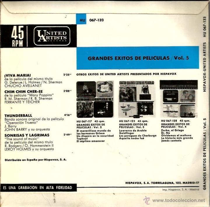Discos de vinilo: LOTE 6 EP´S BANDAS SONORAS: JAMES BOND 007, BEATLES, LA PANTERA ROSA, MONDO CANE, MARY POPPINS,ETC - Foto 4 - 40781549