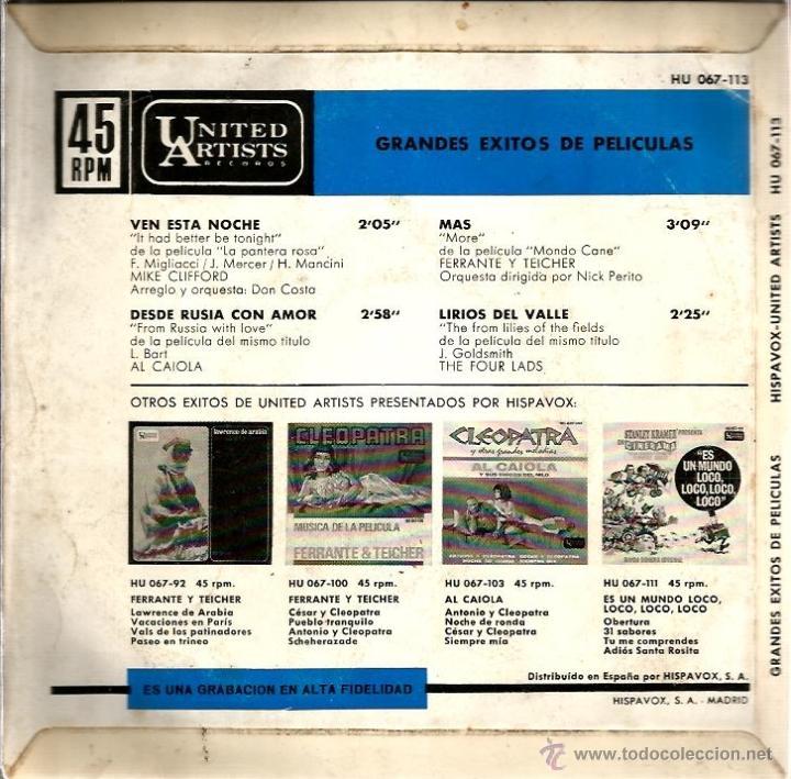 Discos de vinilo: LOTE 6 EP´S BANDAS SONORAS: JAMES BOND 007, BEATLES, LA PANTERA ROSA, MONDO CANE, MARY POPPINS,ETC - Foto 7 - 40781549