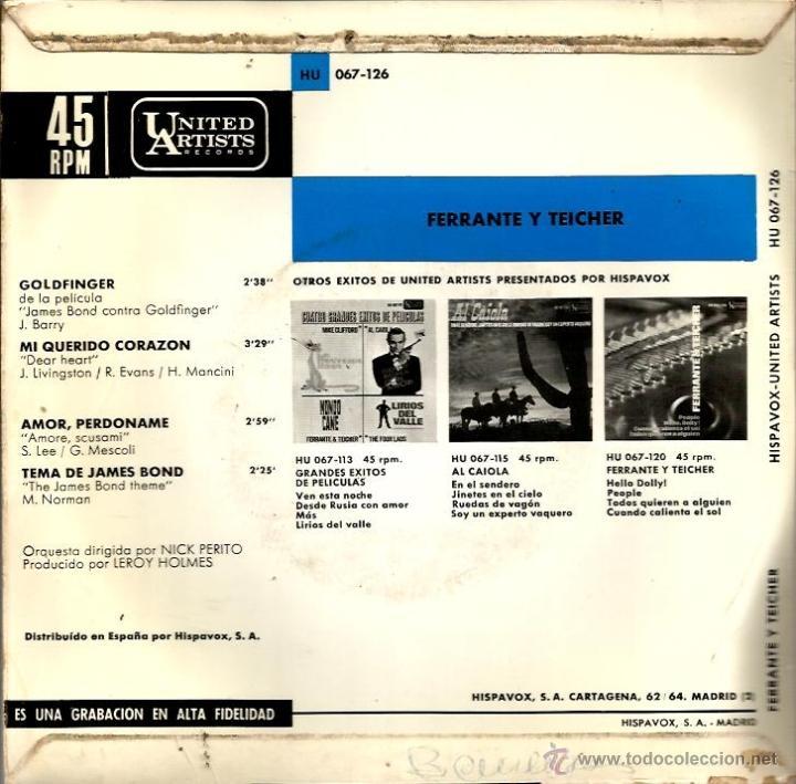 Discos de vinilo: LOTE 6 EP´S BANDAS SONORAS: JAMES BOND 007, BEATLES, LA PANTERA ROSA, MONDO CANE, MARY POPPINS,ETC - Foto 11 - 40781549